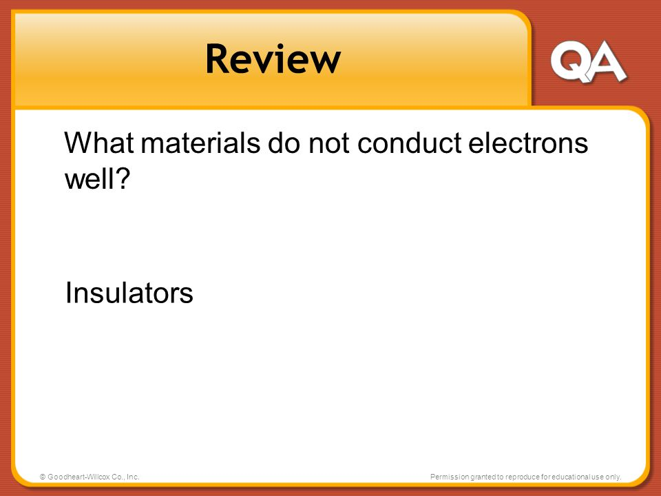 Review What materials do not conduct electrons well Insulators