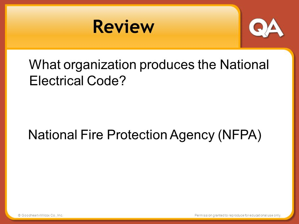 Review What organization produces the National Electrical Code
