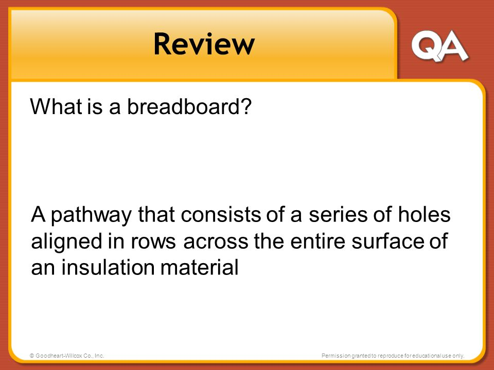 Review What is a breadboard