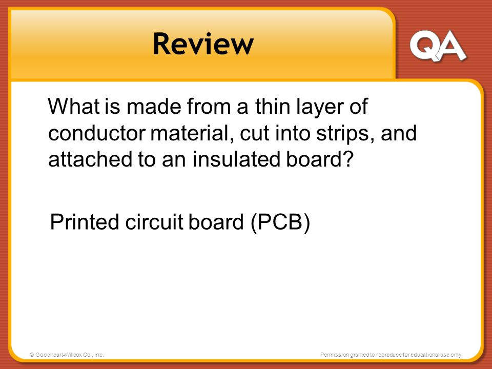 Review What is made from a thin layer of conductor material, cut into strips, and attached to an insulated board