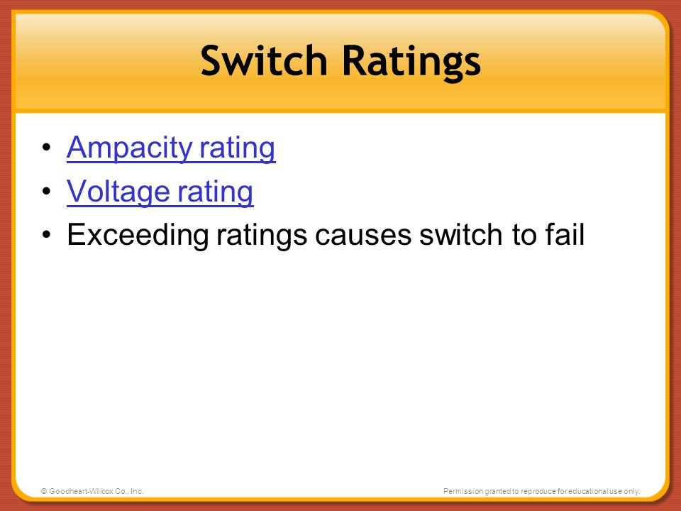Switch Ratings Ampacity rating Voltage rating