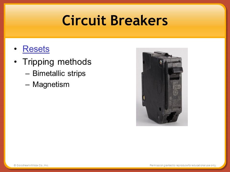 Circuit Breakers Resets Tripping methods Bimetallic strips Magnetism
