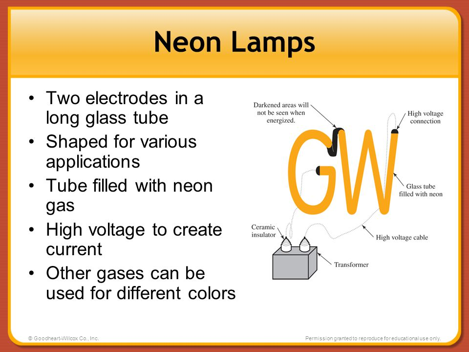 Neon Lamps Two electrodes in a long glass tube