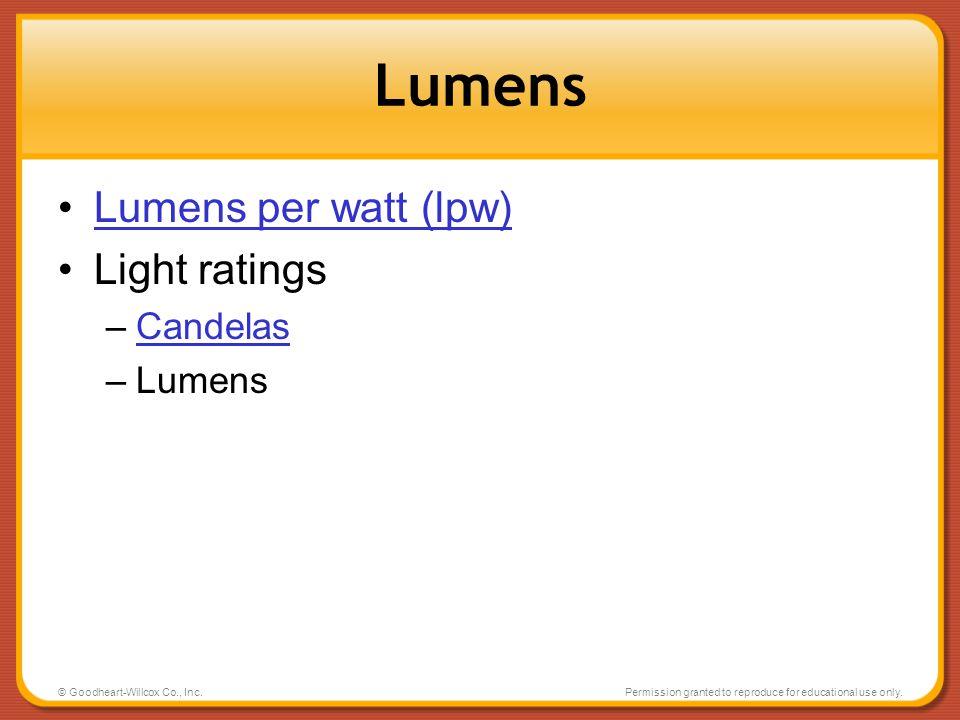 Lumens Lumens per watt (lpw) Light ratings Candelas Lumens