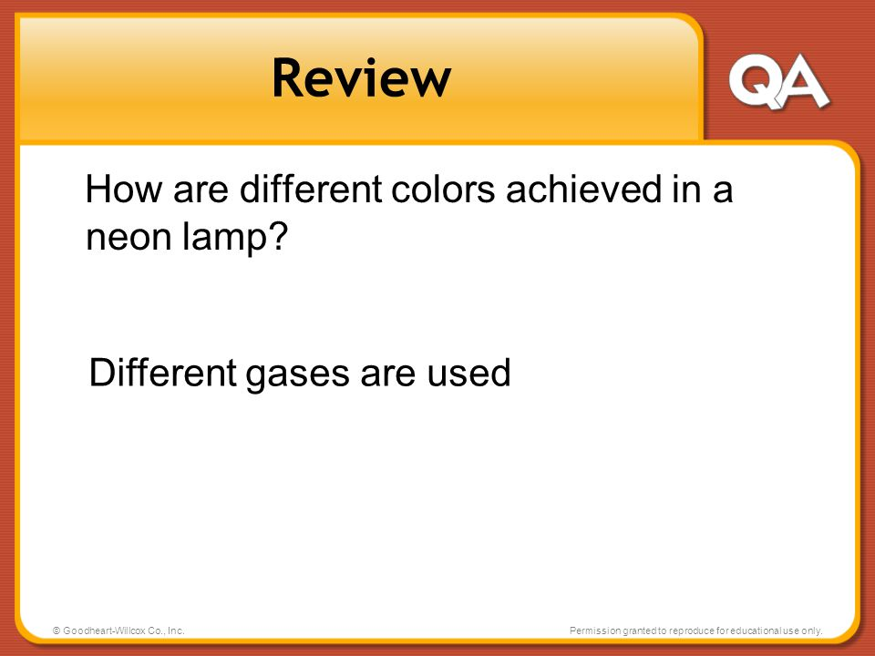 Review How are different colors achieved in a neon lamp