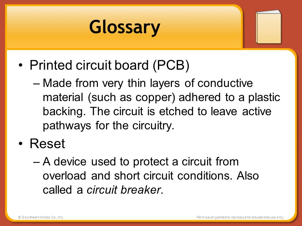 Glossary Printed circuit board (PCB) Reset