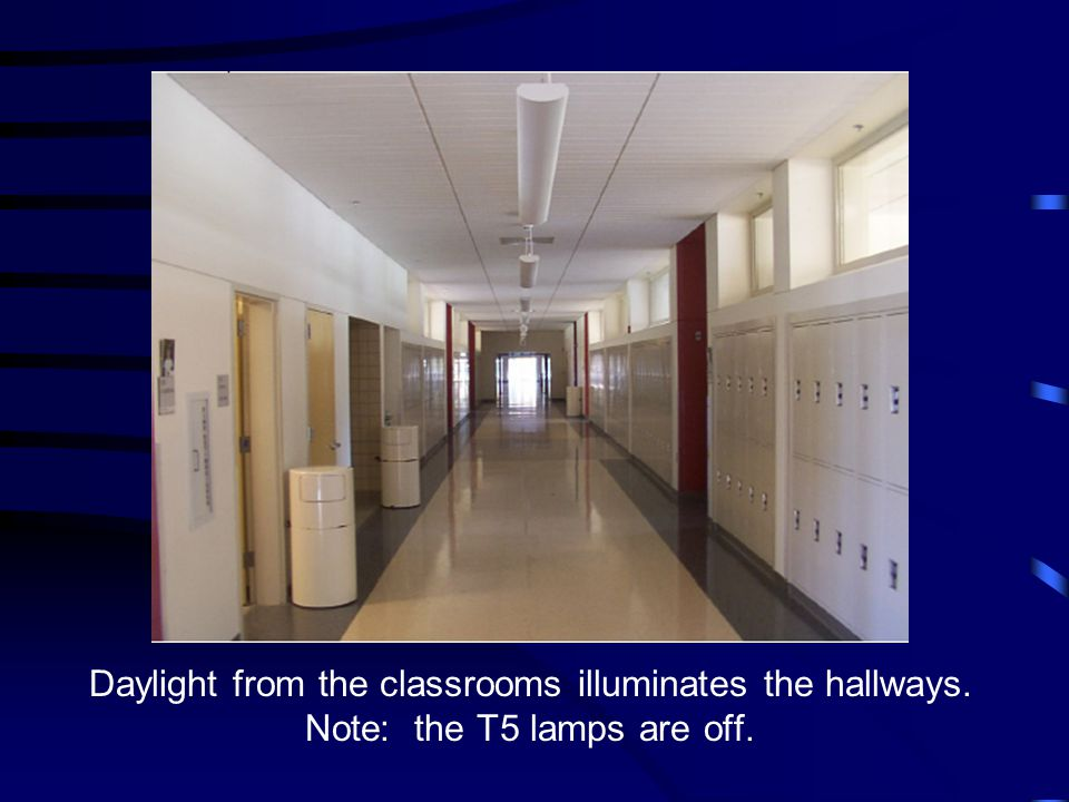 Daylight from the classrooms illuminates the hallways