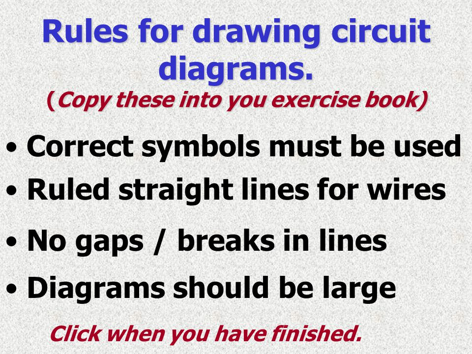 Rules for drawing circuit diagrams. (Copy these into you exercise book)