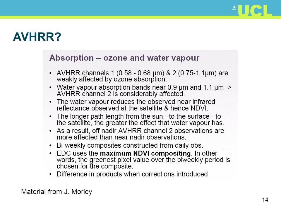 AVHRR Material from J. Morley