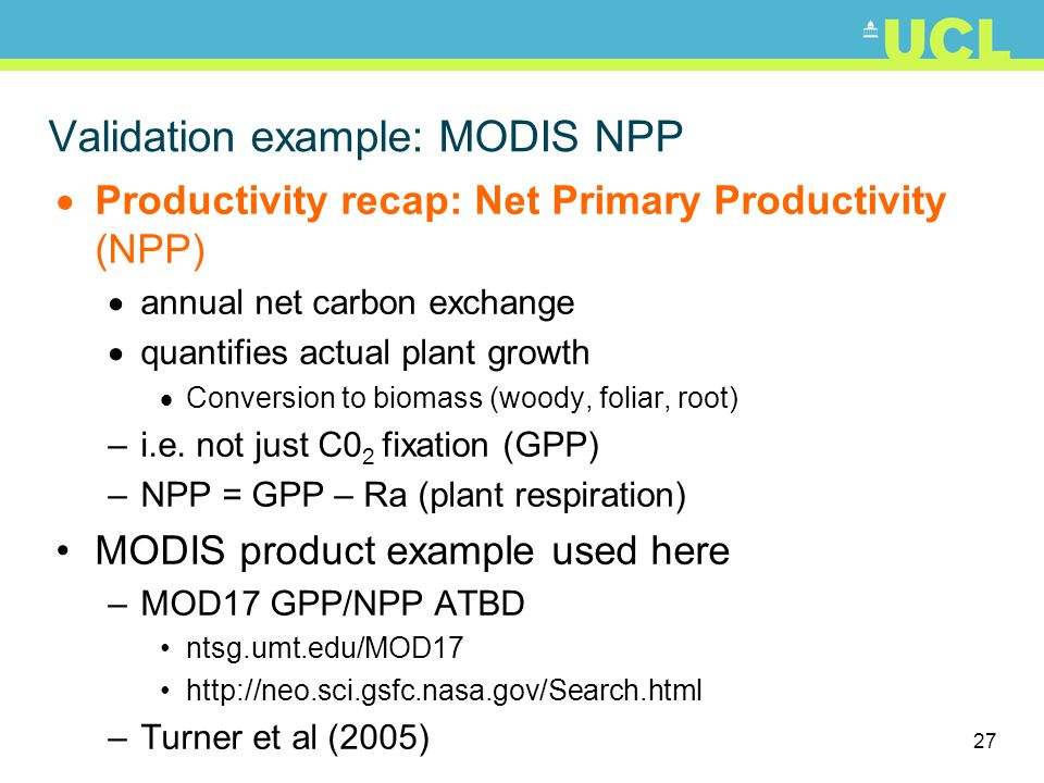 Validation example: MODIS NPP