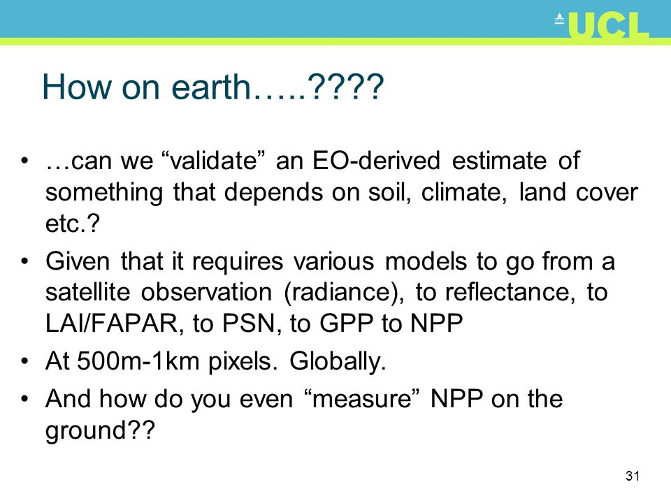 How on earth….. …can we validate an EO-derived estimate of something that depends on soil, climate, land cover etc.