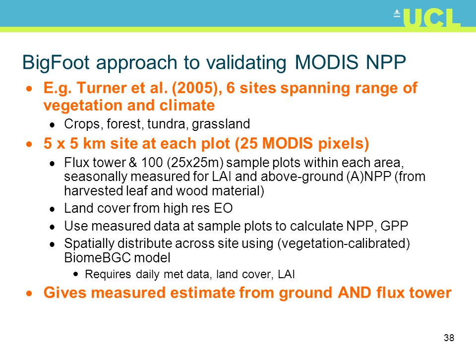 BigFoot approach to validating MODIS NPP