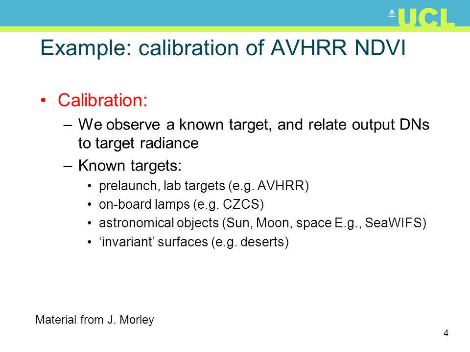Example: calibration of AVHRR NDVI