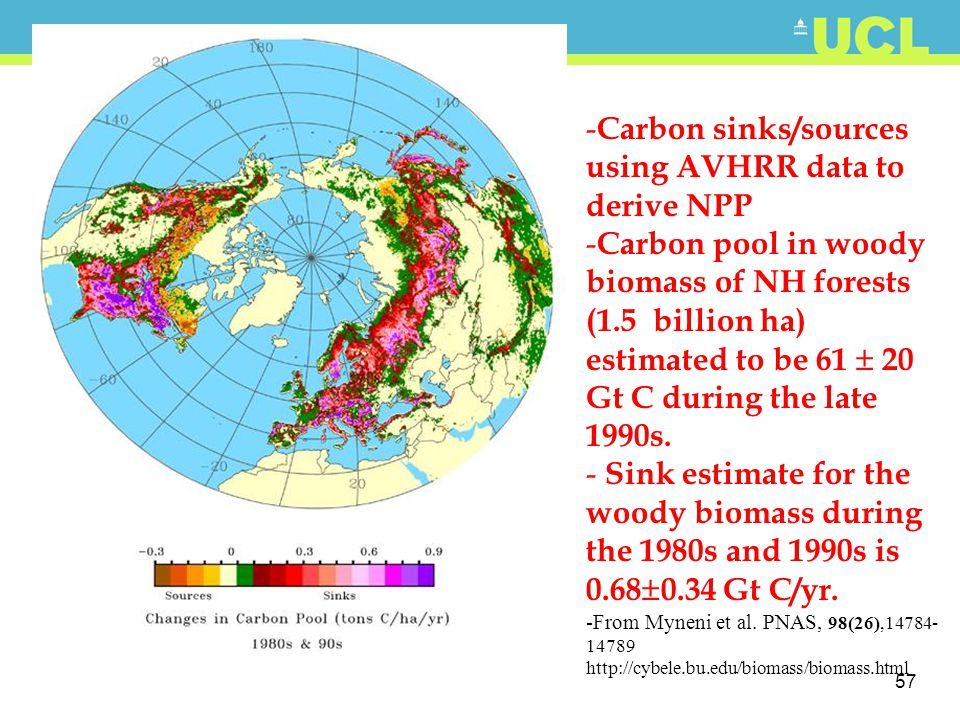 Carbon sinks/sources using AVHRR data to derive NPP