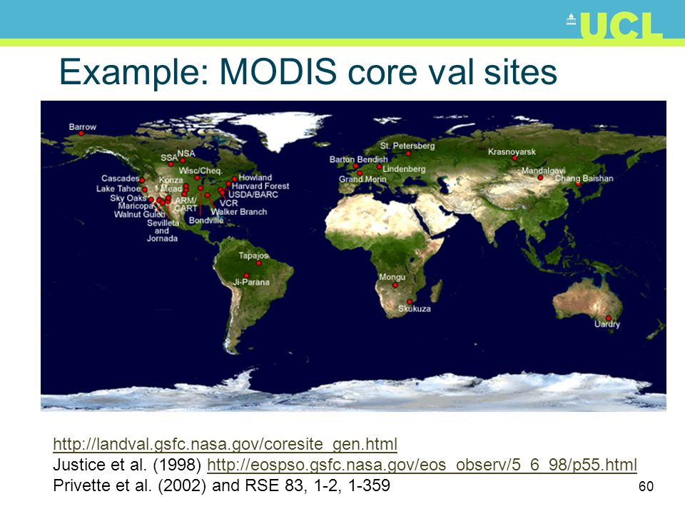 Example: MODIS core val sites