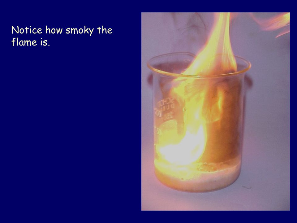 Notice how smoky the flame is.