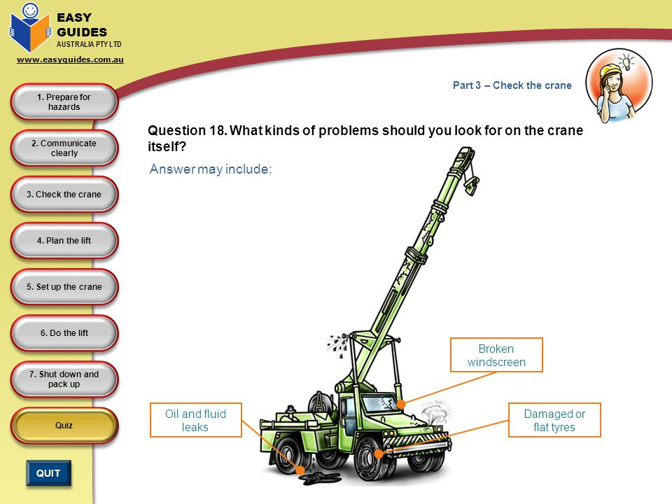 Part 3 – Check the crane Question 18. What kinds of problems should you look for on the crane itself