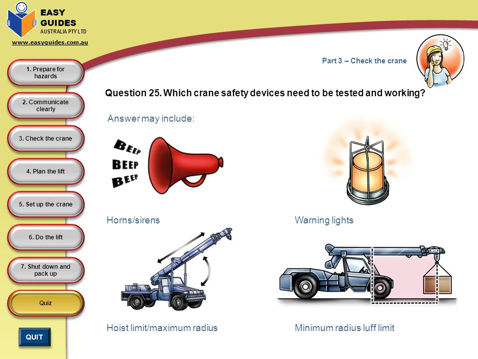 Question 25. Which crane safety devices need to be tested and working