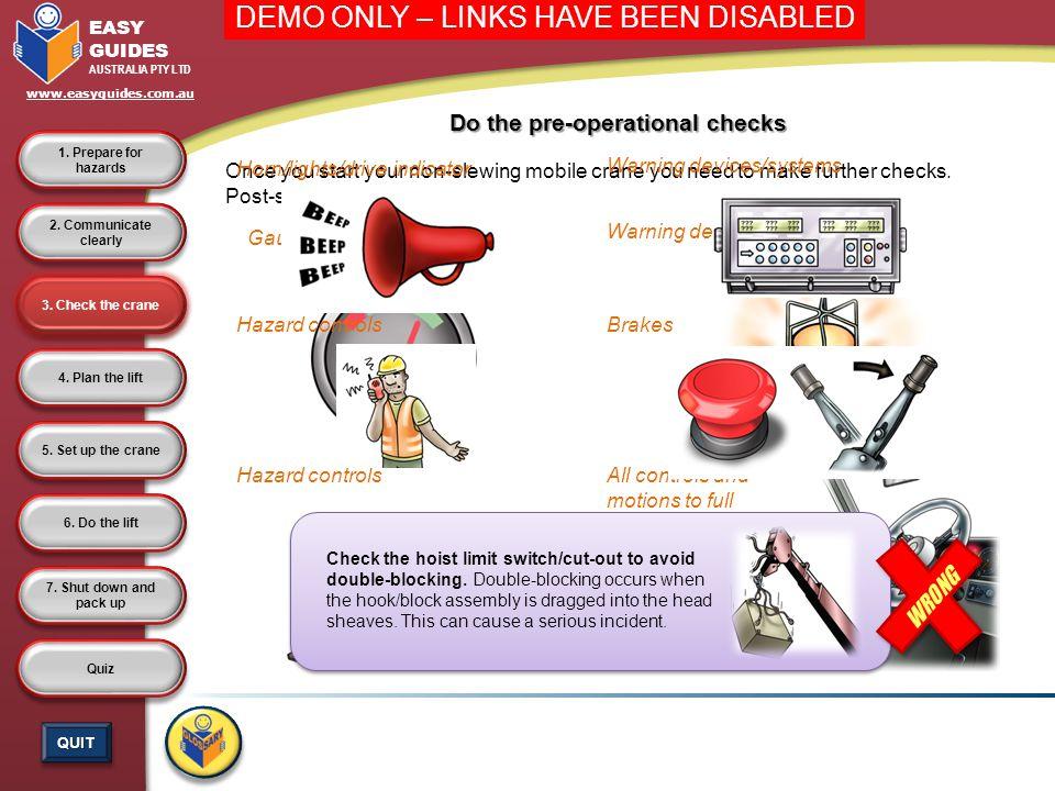 Do the pre-operational checks
