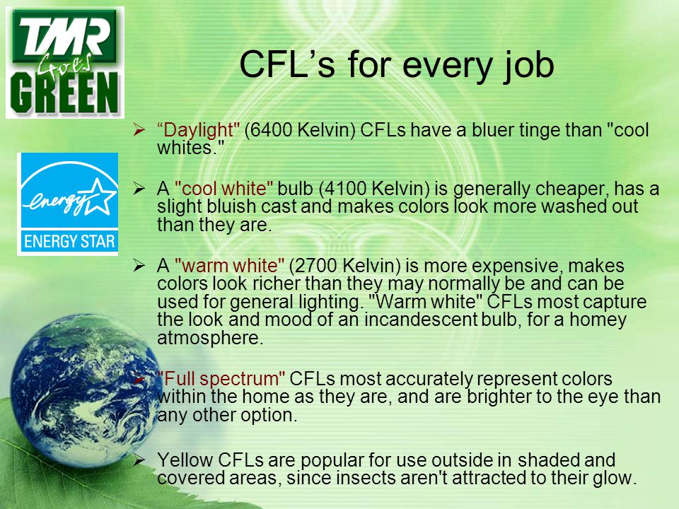 CFL's for every job Daylight (6400 Kelvin) CFLs have a bluer tinge than cool whites.