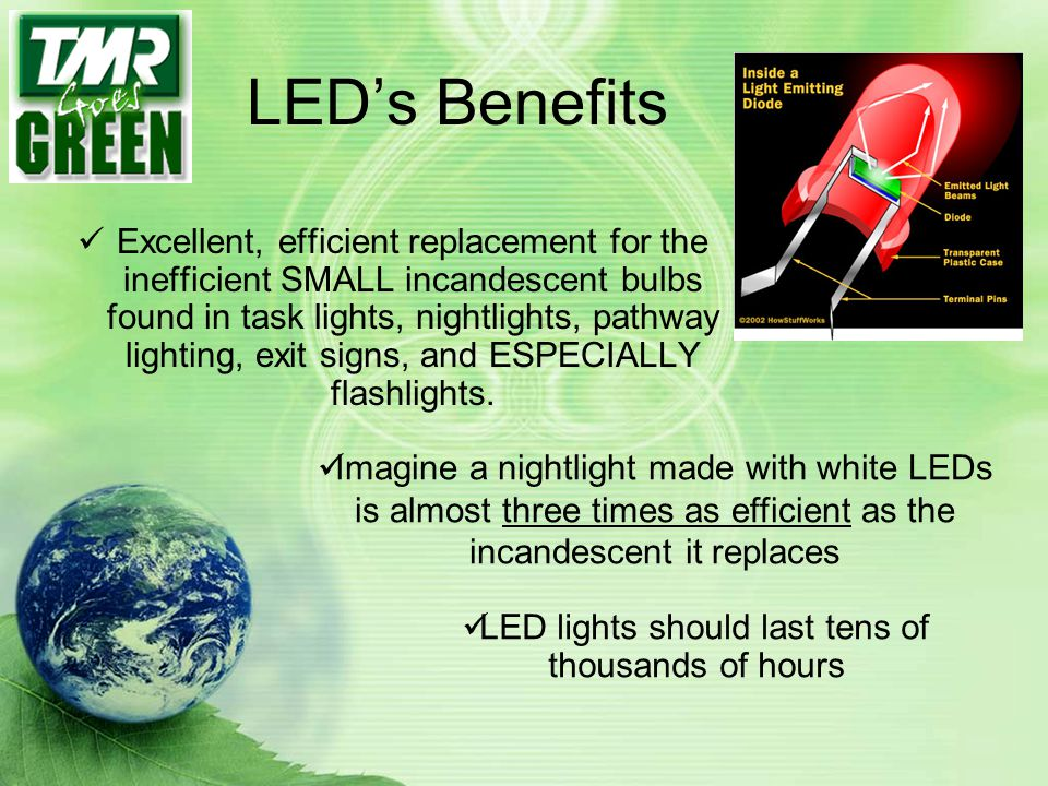 LED lights should last tens of thousands of hours