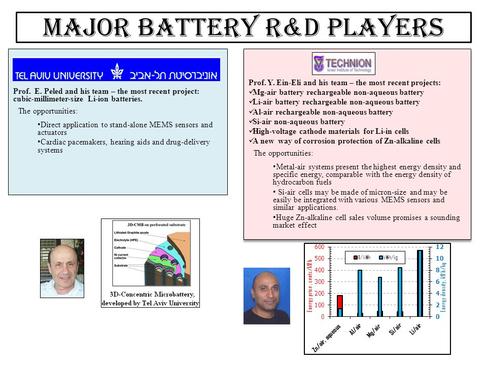 Major battery R&D players
