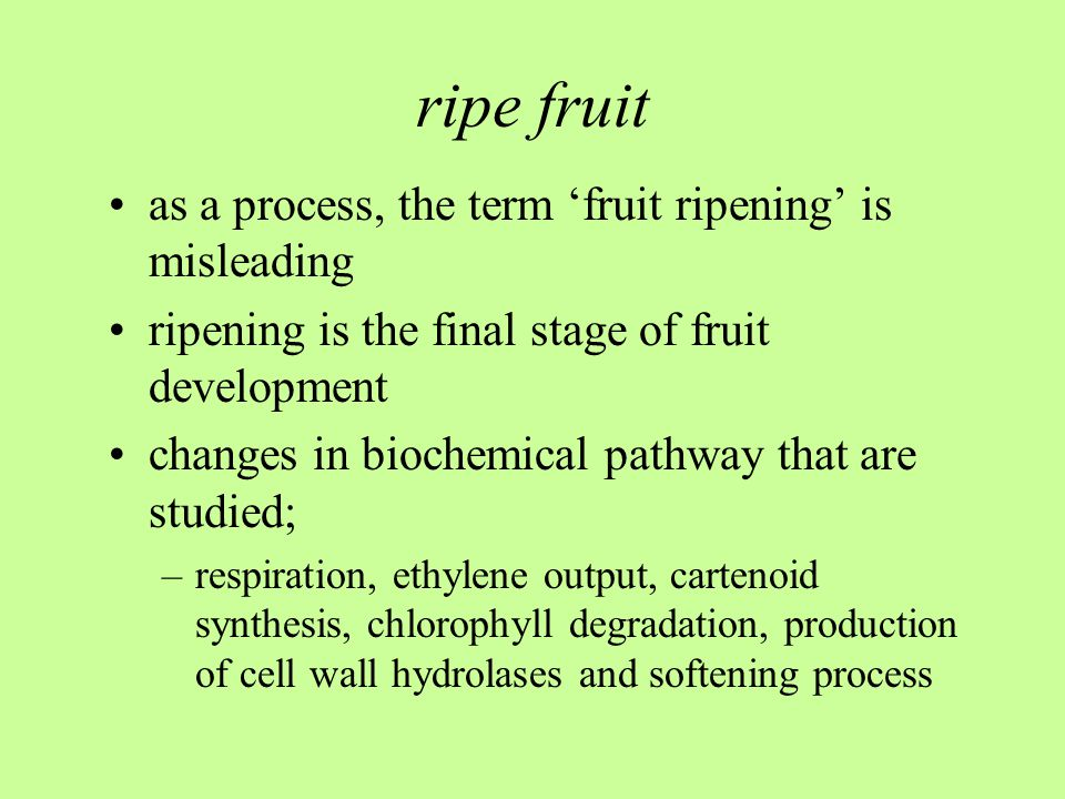 ripe fruit as a process, the term 'fruit ripening' is misleading