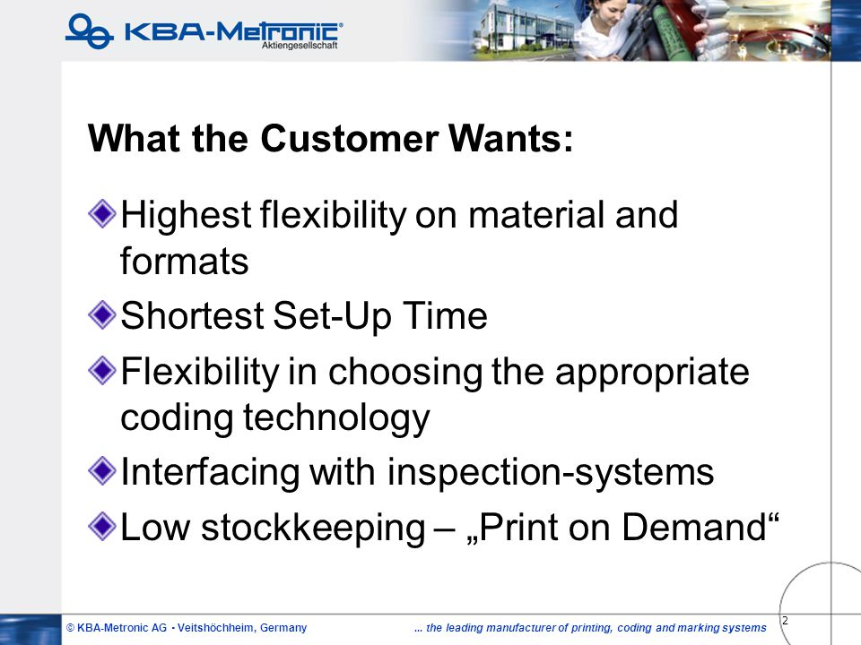 What the Customer Wants: