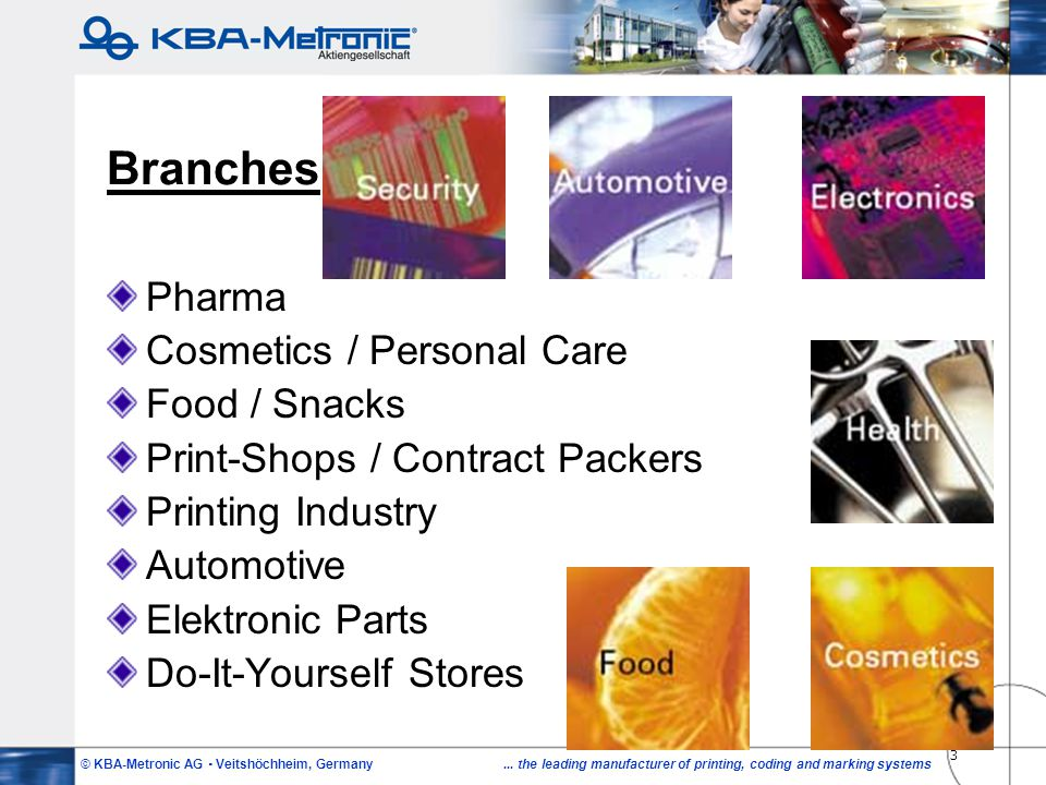 Branches Pharma Cosmetics / Personal Care Food / Snacks