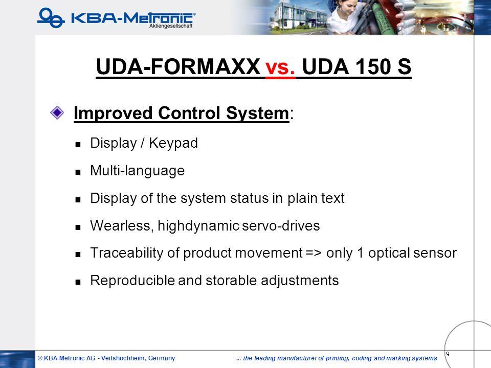 UDA-FORMAXX vs. UDA 150 S Improved Control System: Display / Keypad