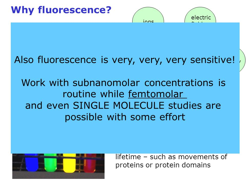 Also fluorescence is very, very, very sensitive!