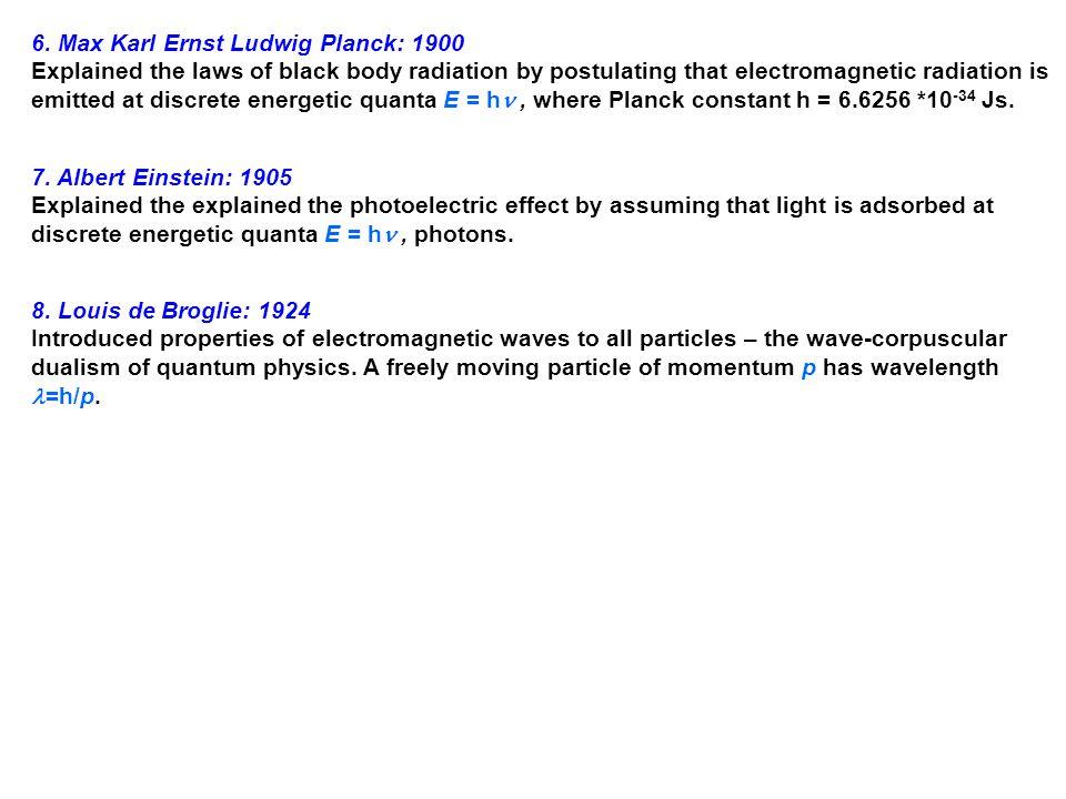 6. Max Karl Ernst Ludwig Planck: 1900
