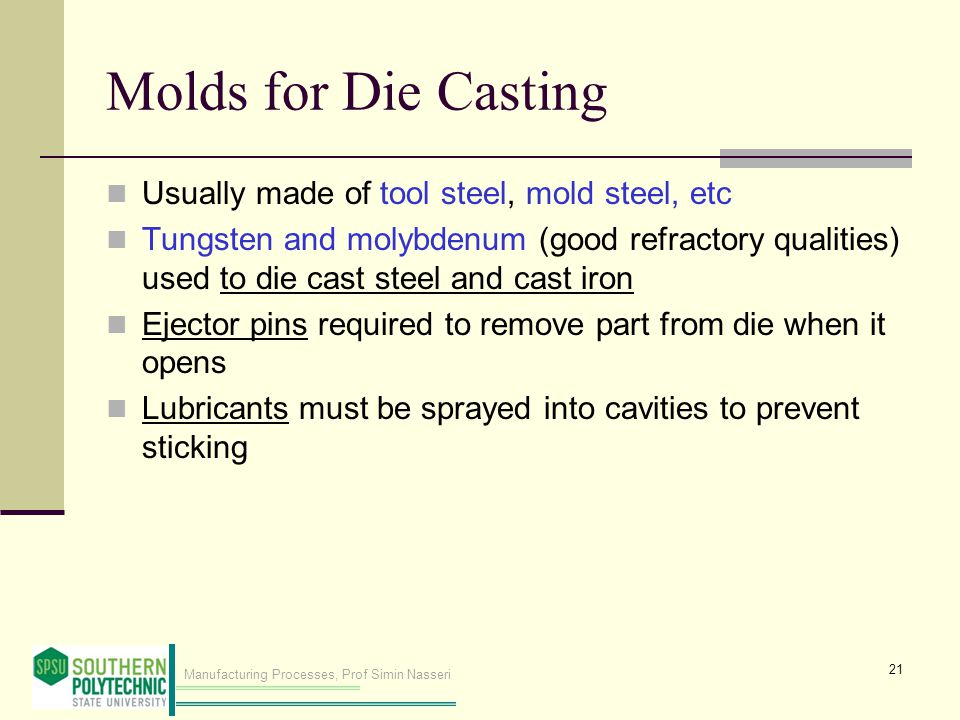 Molds for Die Casting Usually made of tool steel, mold steel, etc