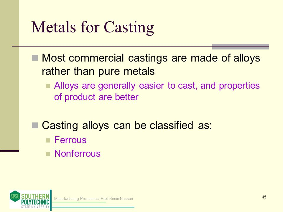 Metals for Casting Most commercial castings are made of alloys rather than pure metals.