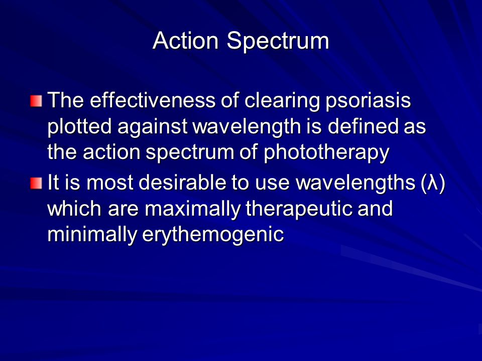Action Spectrum The effectiveness of clearing psoriasis plotted against wavelength is defined as the action spectrum of phototherapy.