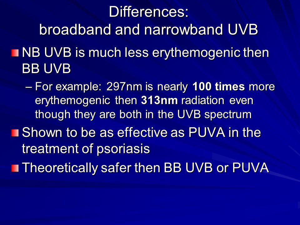 Differences: broadband and narrowband UVB