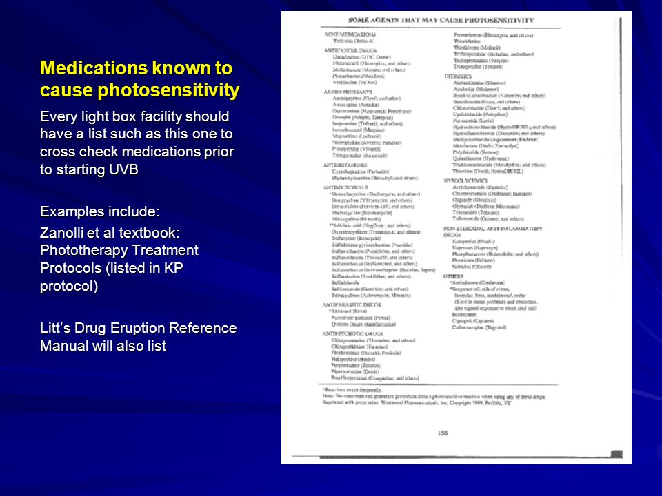 Medications known to cause photosensitivity