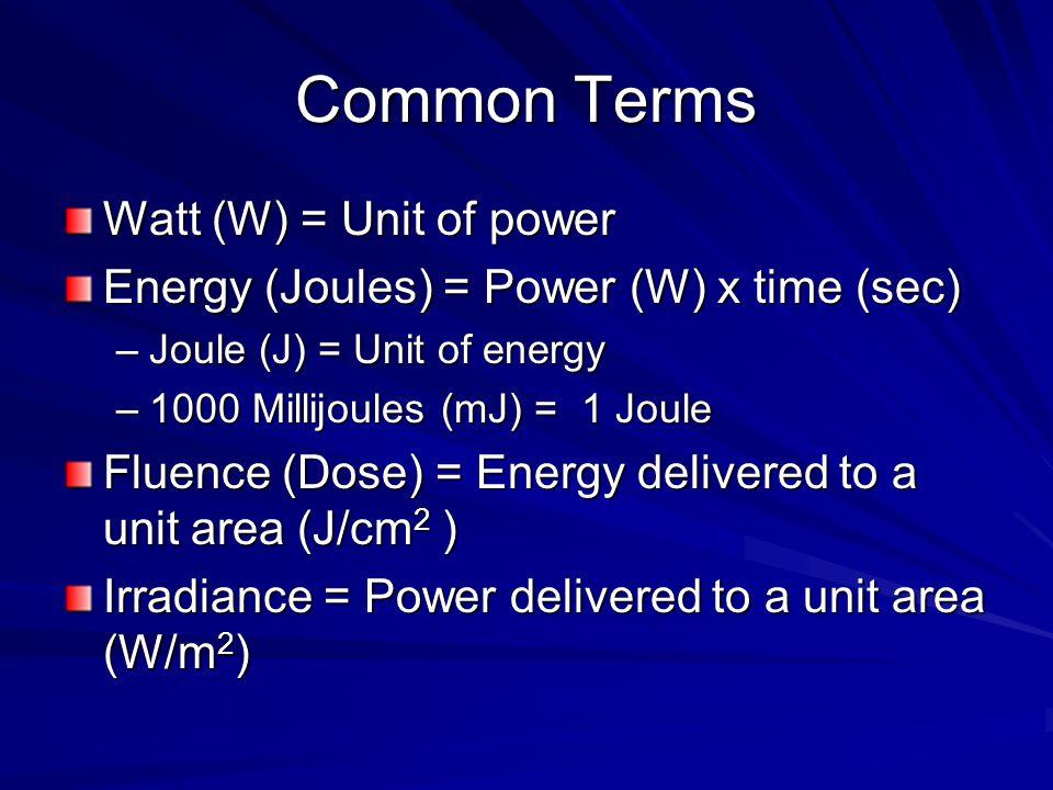 Common Terms Watt (W) = Unit of power