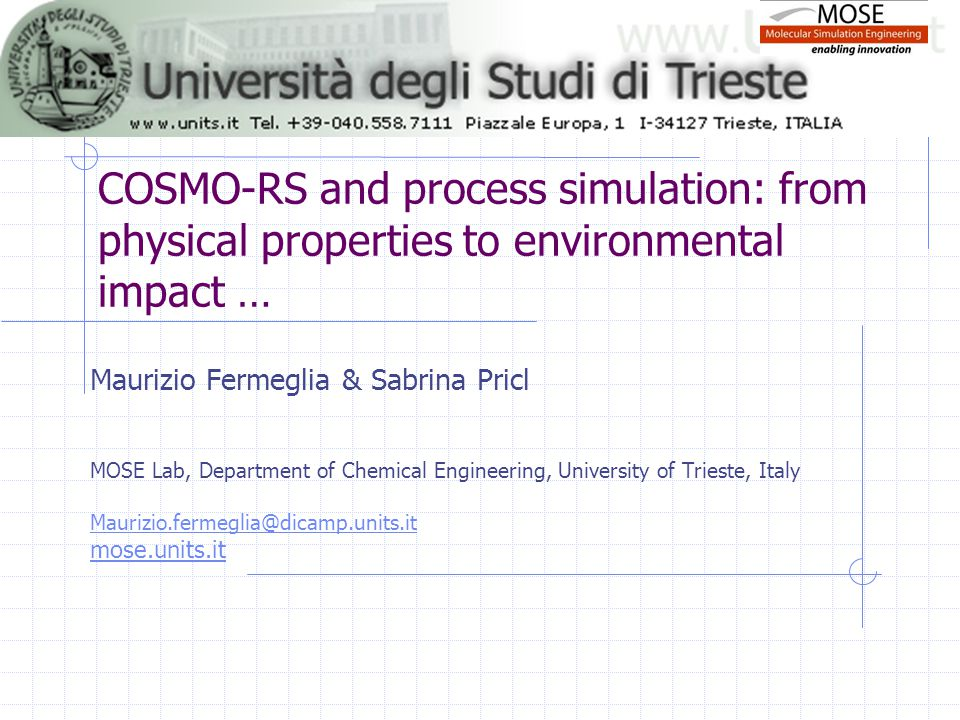 COSMO-RS and process simulation: from physical properties to environmental impact …