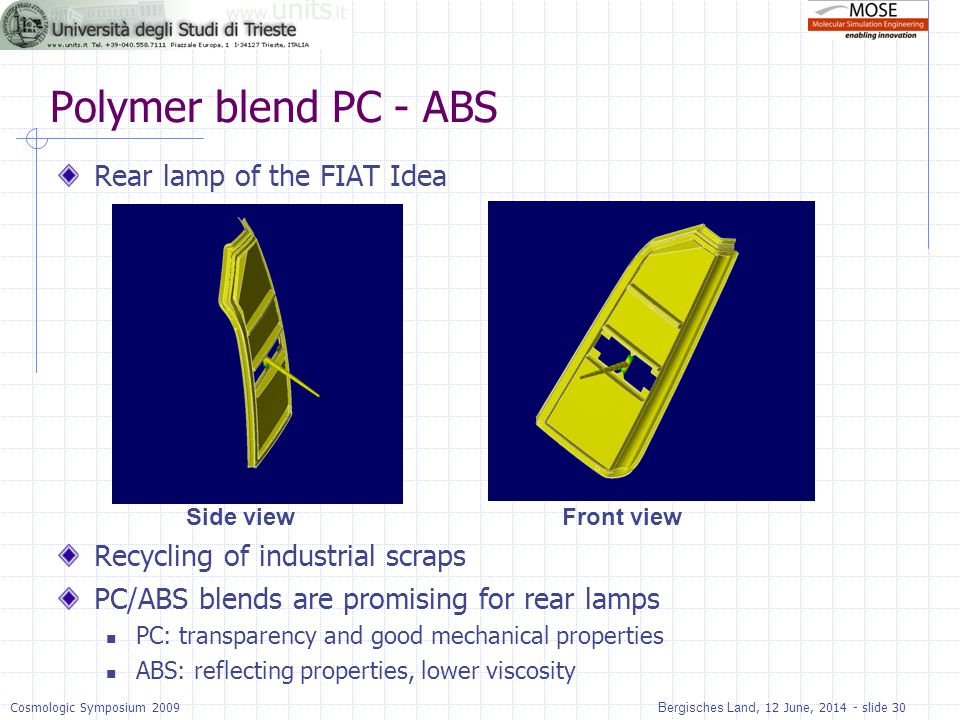 Polymer blend PC - ABS Rear lamp of the FIAT Idea