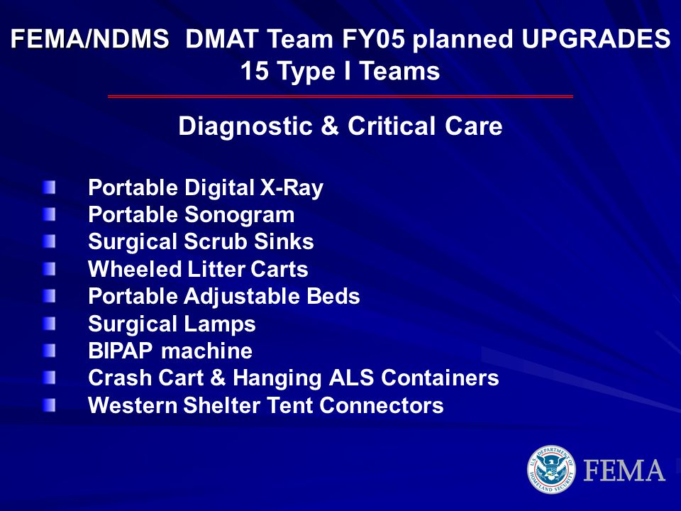 FEMA/NDMS DMAT Team FY05 planned UPGRADES Diagnostic & Critical Care