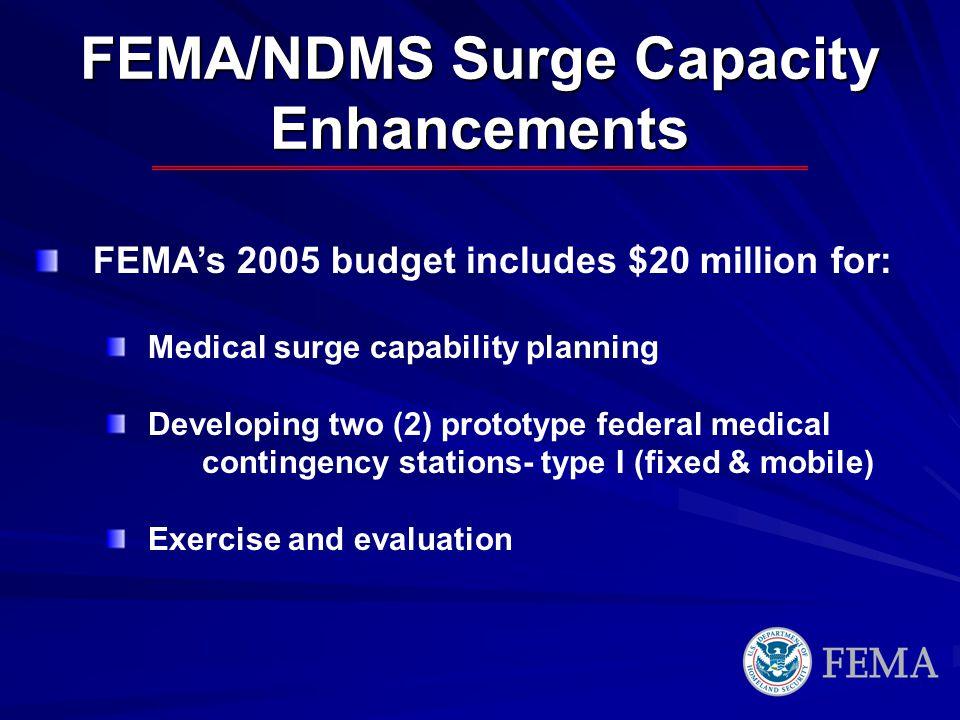 FEMA/NDMS Surge Capacity Enhancements