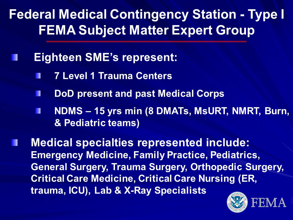 Federal Medical Contingency Station - Type I