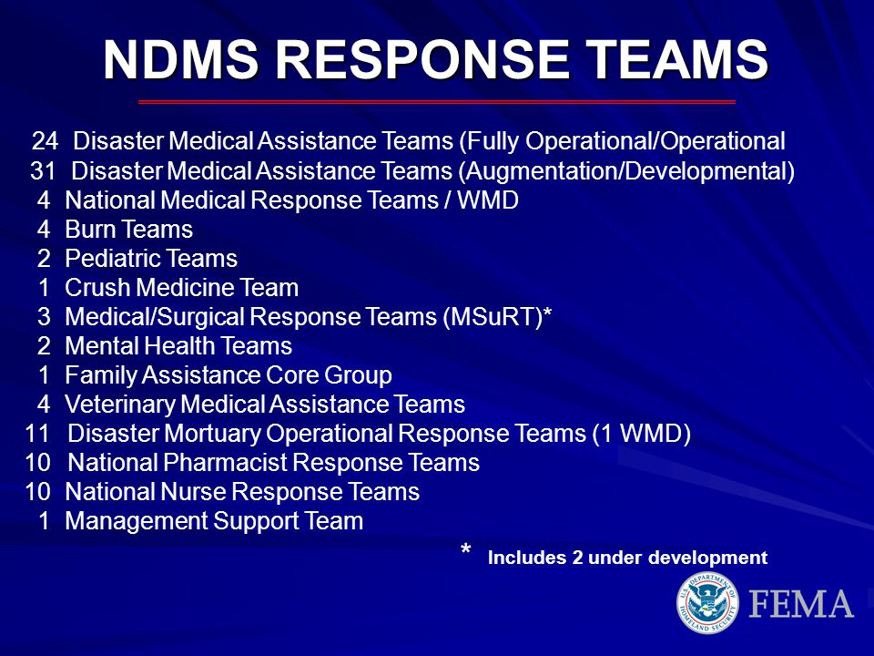 NDMS RESPONSE TEAMS 24 Disaster Medical Assistance Teams (Fully Operational/Operational.