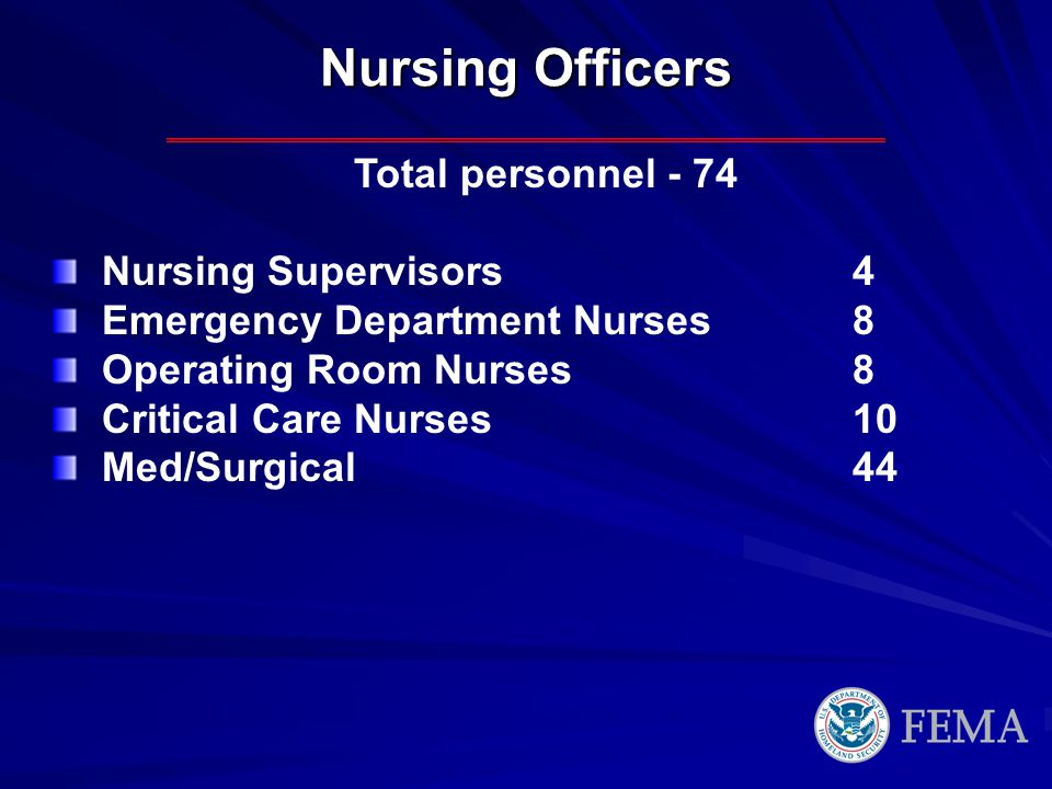 Nursing Officers Total personnel - 74 Nursing Supervisors 4