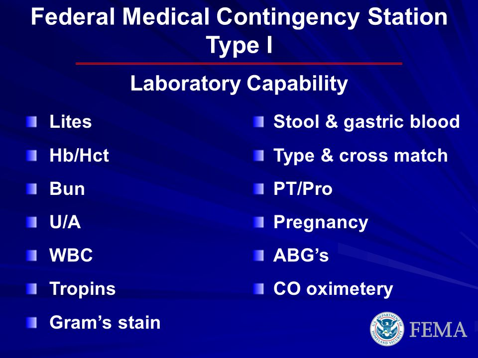 Federal Medical Contingency Station Laboratory Capability