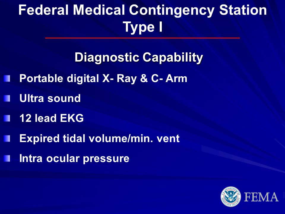 Federal Medical Contingency Station Diagnostic Capability