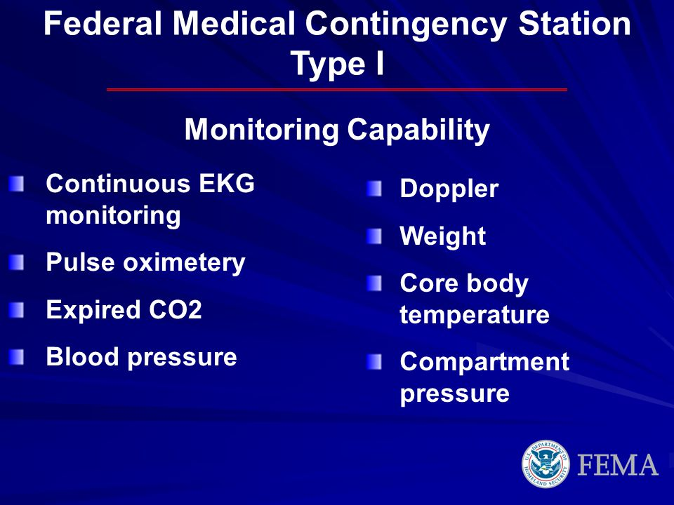 Federal Medical Contingency Station Monitoring Capability