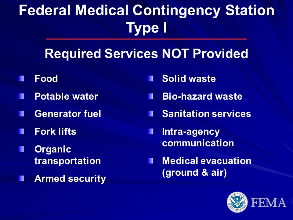 Federal Medical Contingency Station Required Services NOT Provided