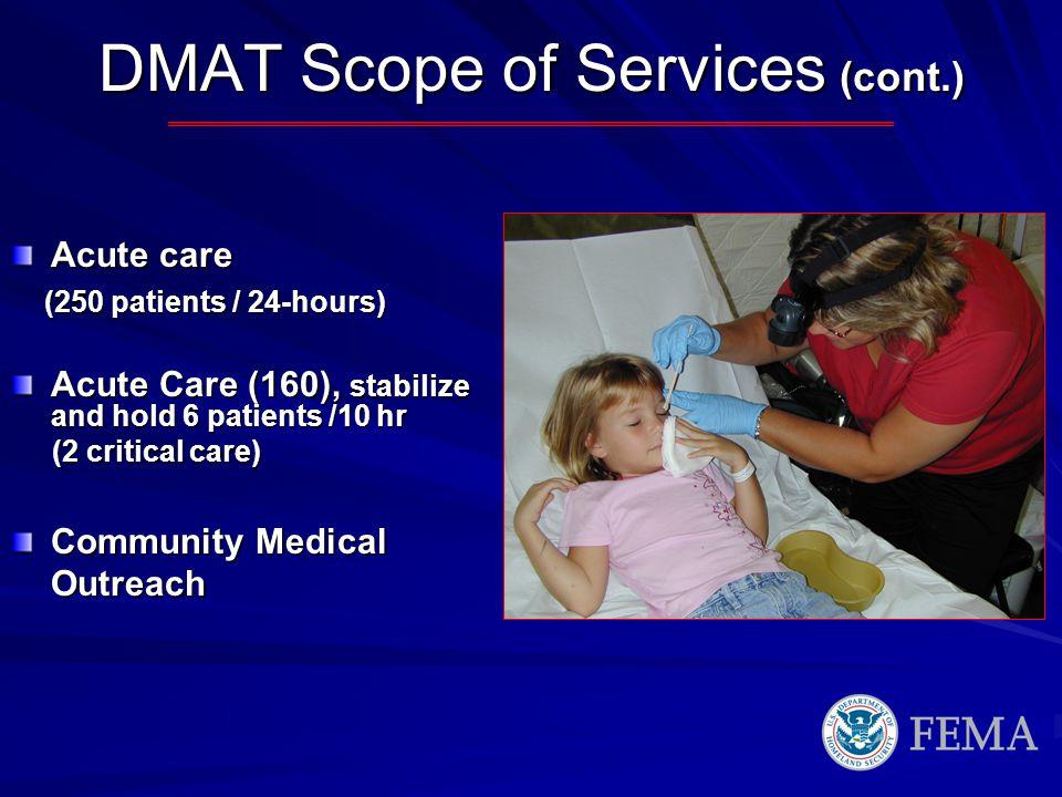 DMAT Scope of Services (cont.)